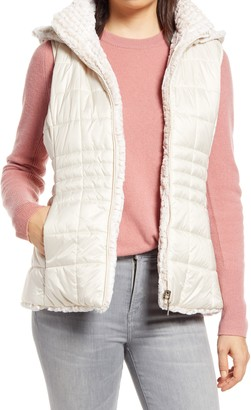 Gallery Reversible Faux Fur Quilted Puffy Vest