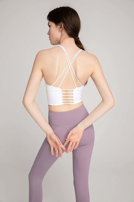 J.ING Canyon White Strappy Ladder Back Bra Top