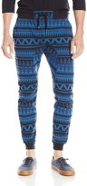 Southpole Men's Jogger Pants In Fleece Fabric with Drop Crotch and All Over Aztec Horizontal Patterns