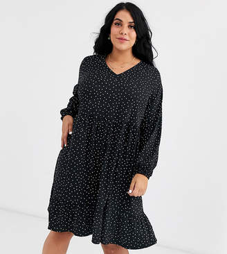 New Look Plus Curve soft touch dress in black polka dot