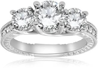 Pompeii3 14K White Gold 2 1/2 ct TDW Diamond Clarity Enhanced Three Stone Vintage Engagement Ring