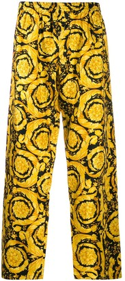Versace Barocco print silk pajama trousers