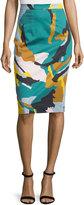 Milly Modern Camo-Print Midi Skirt, Multi