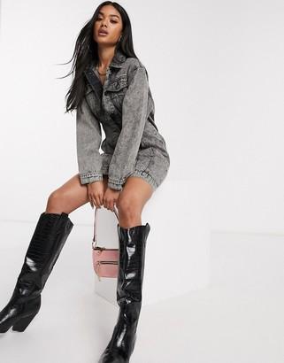 Asos DESIGN denim jacket dress with pinched front seams in black acid wash