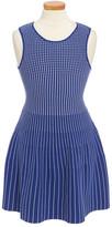 Milly Minis Dot Stripe Sleeveless Knit Dress (Big Girls)