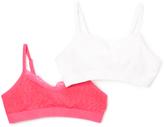Pink Cookie Fuchsia & White Lace-Trim Sports Bra Set