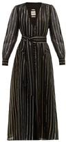 BLAZÉ MILANO Medusa Metallic Stripe-jacquard Cotton-blend Gown - Womens - Black