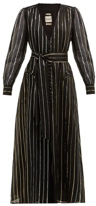 BLAZÉ MILANO Medusa Metallic Stripe-jacquard Cotton-blend Gown - Black