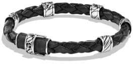 David Yurman Cable Collection Sterling Silver& Leather Bracelet