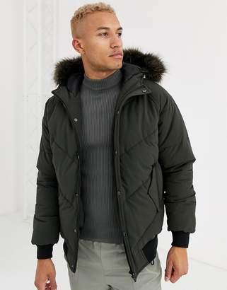 Asos Design DESIGN puffer jacket in khaki with fur hood-Green