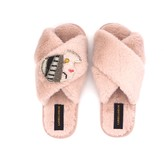 Laines London Pink Fluffy Slippers With Beaded Vintage Lady Brooch