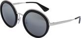 Prada Black & Silver Round Sunglasses
