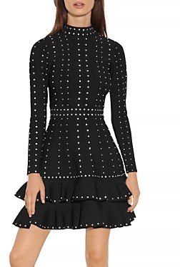 Sandro Asya Studded Knit Dress