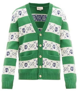 Gucci Gg Jacquard Wool Cardigan - Mens - Green White