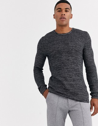 ONLY & SONS knitted sweater with black mixed yarn cotton