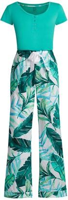New York & Co. Green Tropical-Print Pajama Set