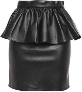 Ronny Kobo Alma Faux Leather Peplum Mini Skirt