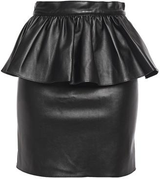 Ronny Kobo Ruffled Faux Leather Mini Skirt