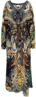 Camilla Lace-up Crystal-embellished Printed Silk Crepe De Chine Kaftan