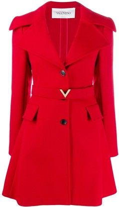 Valentino V logo belt coat