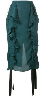 Marco De Vincenzo ruched ruffle pencil skirt