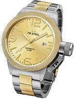 TW Steel Canteen Unisex Automatic Watch with Gold Dial Analogue Display and Silver Stainless Steel Bracelet CB56