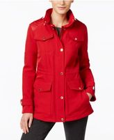 MICHAEL Michael Kors Faux-Leather-Trim Hooded Water-Resistant Anorak