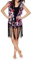 Betsey Johnson Floral Fringe Kimono Coat