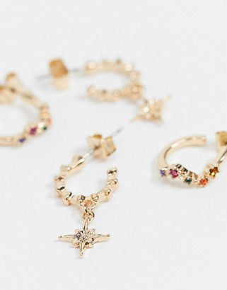 Pieces 2 pack hoop earrings with star and gem details in gold