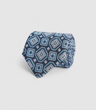Reiss Luka - Silk Medallion Tie in Steel Blue