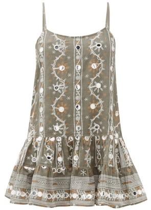 Juliet Dunn Nomad Mirror-embroidered Cotton Dress - Khaki Print
