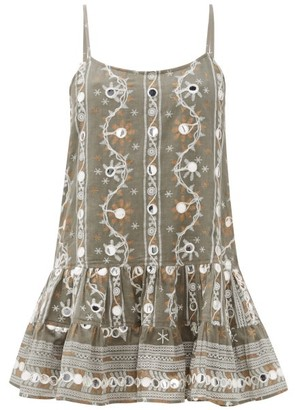 Juliet Dunn Nomad Mirror-embroidered Cotton Dress - Womens - Khaki Print