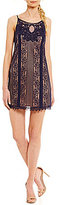 Jodi Kristopher Illusion-Yoke Lace Slip Dress