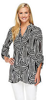 Sunny Leigh As Is Release Pleat Printed Tunic w/ Roll Tab Sleeves