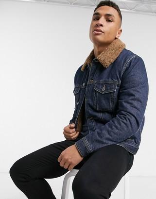 Topman borg lined denim jacket in blue