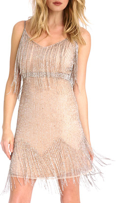 As By Df Champagne Beaded Waterfall Mini Dress