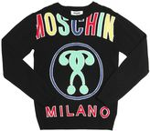 Moschino Logo Jacquard Wool Blend Sweater