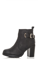 Quiz Black Tread Sole Ankle Boots