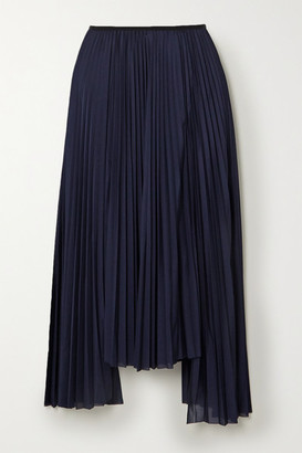 Helmut Lang Asymmetric Pleated Jersey Midi Skirt - Navy