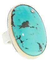 Jamie Joseph Large Oval Persian Turquoise Ring with Diamond