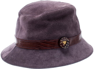 Tod's Tods Purple Suede and Lizard Trim Bowler Hat