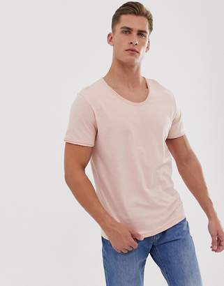 Jack and Jones scoop neck slub t-shirt in pink