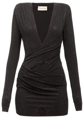 Alexandre Vauthier Plunge Ruched Jersey Mini Dress - Black