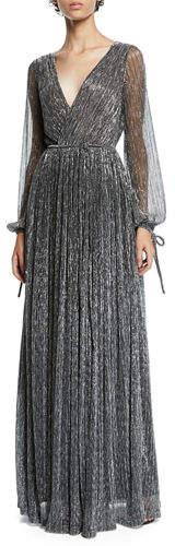 Zac Posen Christina Metallic Pleated Long-Sleeve Wrap Gown