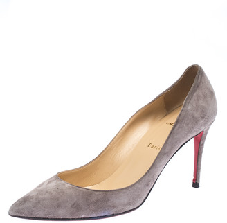 Christian Louboutin Grey Suede Pigalle Follies Pointed Toe Pumps Size 40.5
