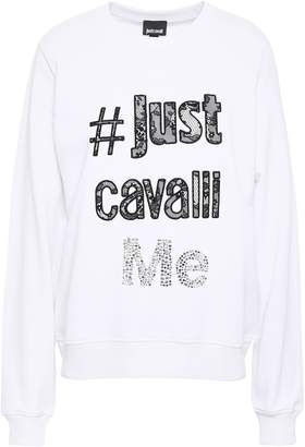 Just Cavalli Embellished French Cotton-terry Sweatshirt