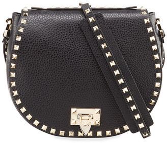 Valentino Garavani Rockstud Small Saddle Crossbody Bag