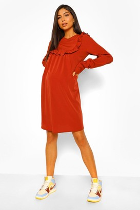 boohoo Maternity Drape Sleeve Ruffle Shift Dress