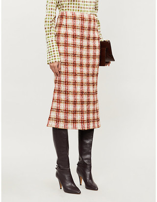 Victoria Beckham High-waist checked boucle midi skirt