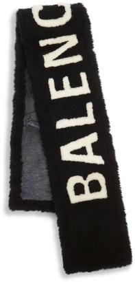 Balenciaga Burnished Shearling Logo Scarf